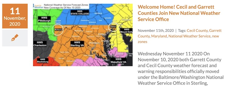 National Weather Service Adds Maryland Cecil And Garrett Counties