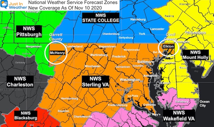 National Weather Service Forecast Zones Maryland New November 2020