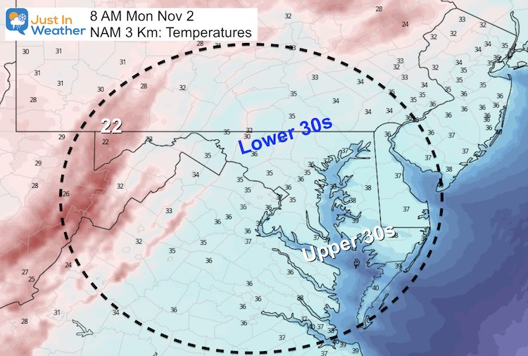 November 1 weather temperatures low Monday morning