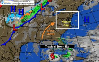 November 10 weather Tuesday morning Tropical Storm Eta