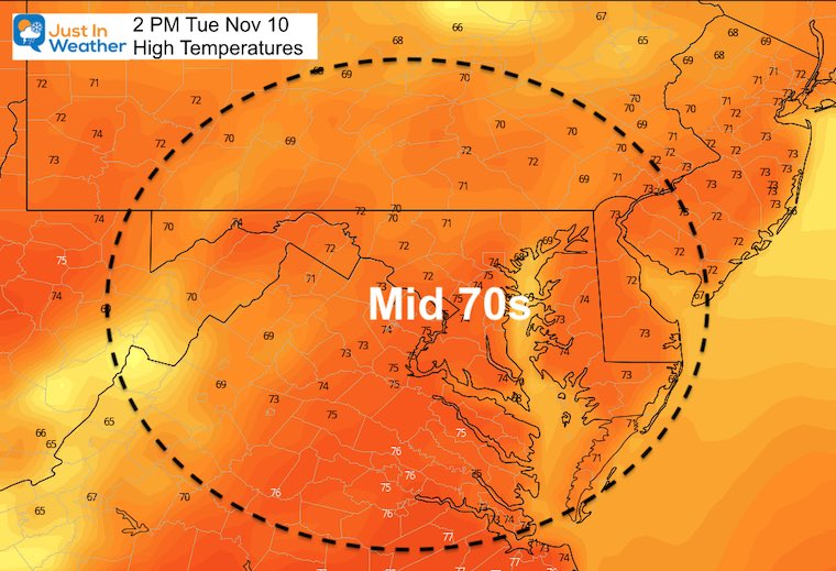 November 10 weather temperatures Tuesday afternoon