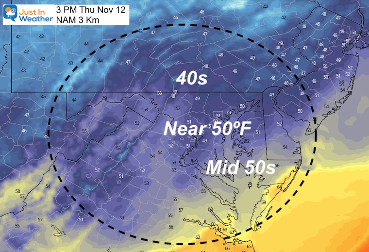 November 12 weather temperatures Thursday