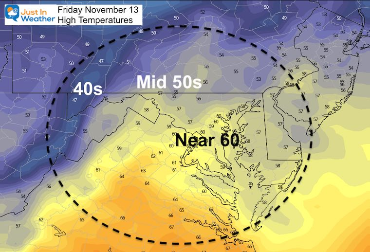 November 13 weather temperatures Friday afternoon