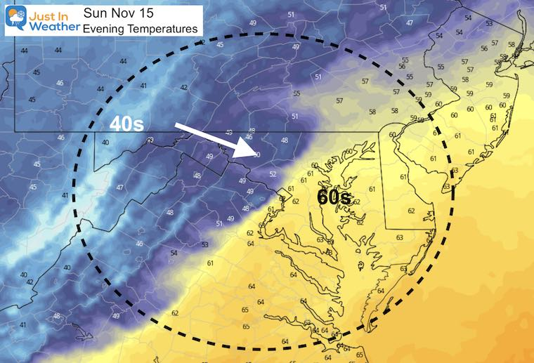 November 14 weather temperatures Sunday afternoon