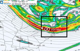 November 15 weather jet stream vort max Tuesday