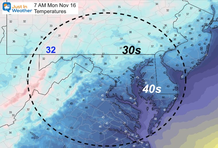 November 15 weather temperatures Monday morning