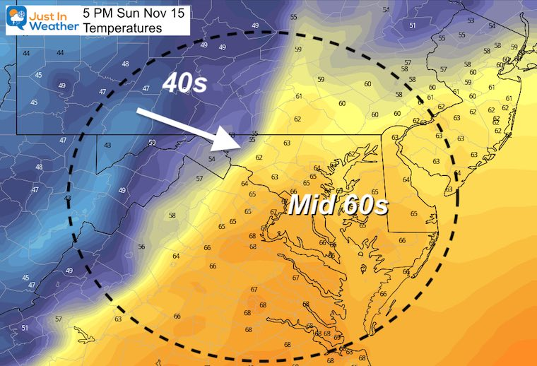 November 15 weather temperatures Sunday afternoon