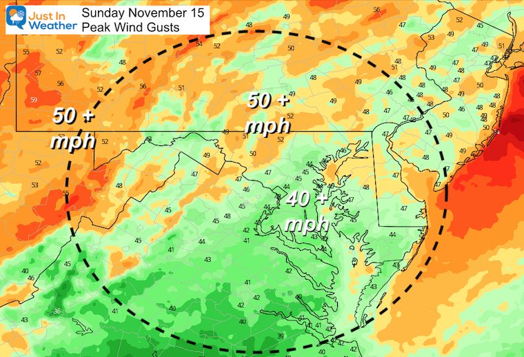 November 15 weather wind gusts Sunday afternoon