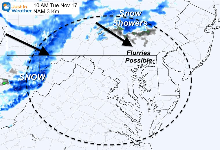 November 16 weather Tuesday snow
