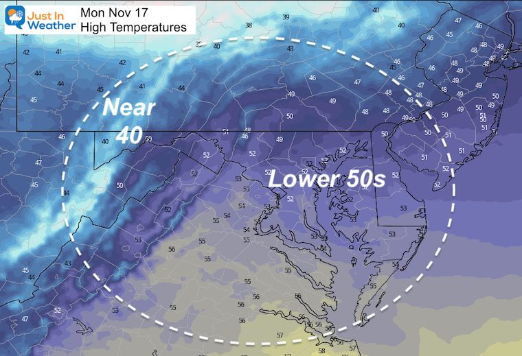 November 16 weather temperatures Monday afternoon