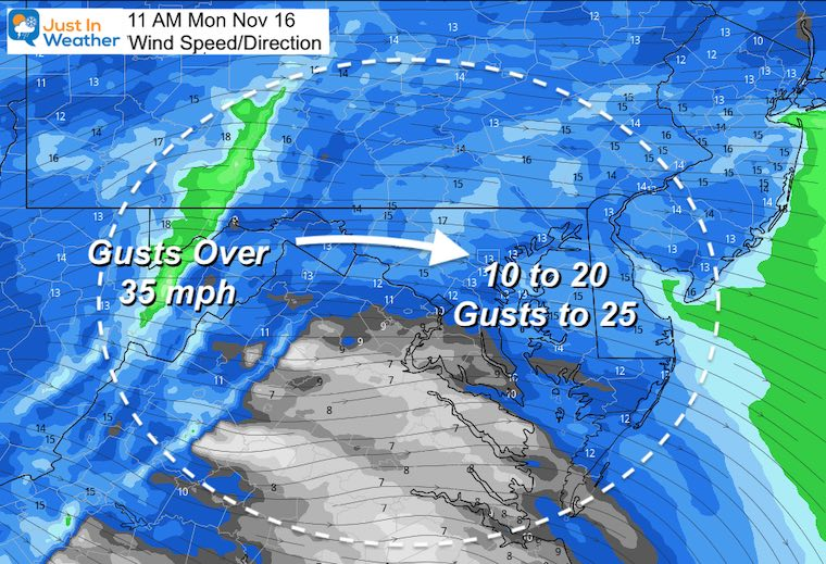 November 16 weather winds Monday