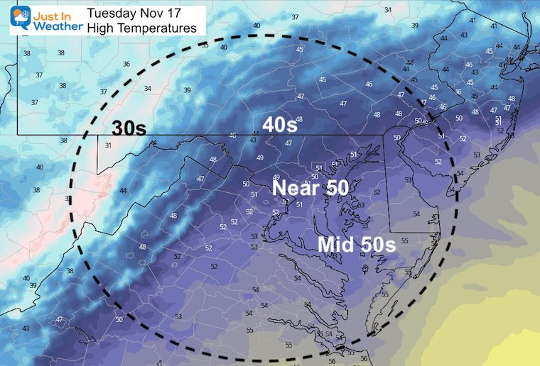 November 17 weather temperatures Tuesday afternoon