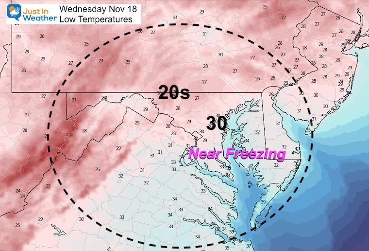 November 17 weather temperatures Wednesday morning