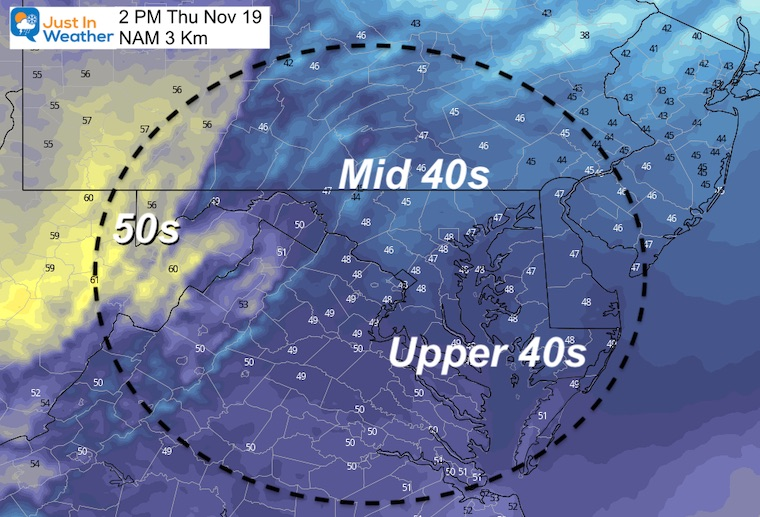 November 18 weather temperatures Thursday afternoon