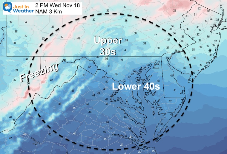 November 18 weather temperatures Wednesday afternoon