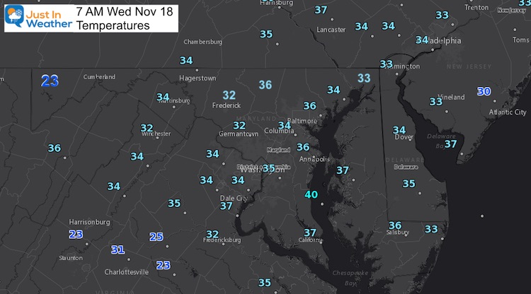 November 18 weather temperatures Wednesday morning
