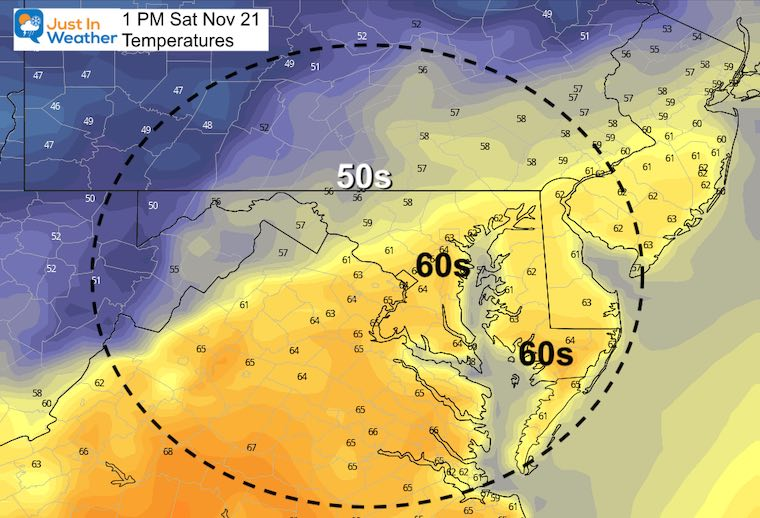 November 20 weather temperatures Saturday afternoon