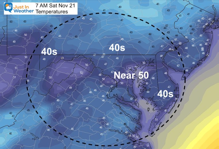 November 20 weather temperatures Saturday morning
