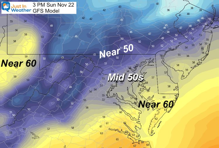 November 21 weather temperatures Sunday afternoon