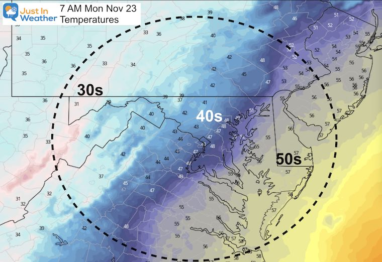 November 22 weather temperatures Monday afternoon