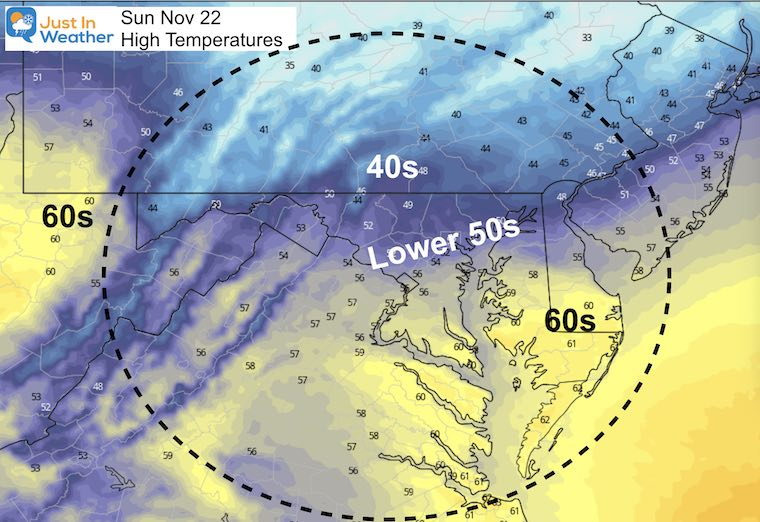 November 22 weather temperatures Sunday afternoon