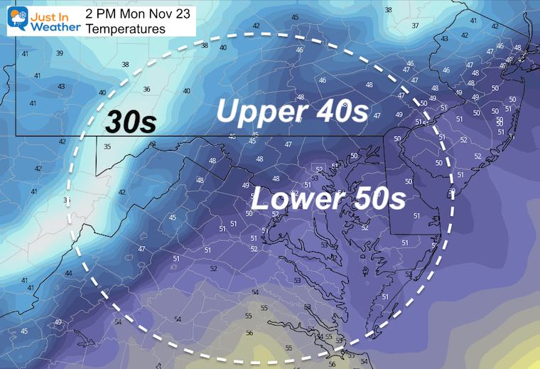 November 23 weather temperatures Monday afternoon