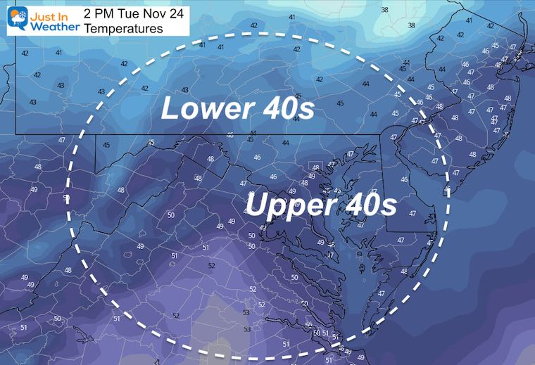 November 23 weather temperatures Tuesday afternoon