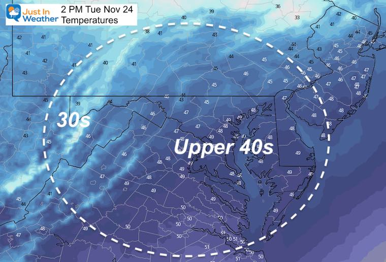 November 24 weather temperatures Tuesday afternoon