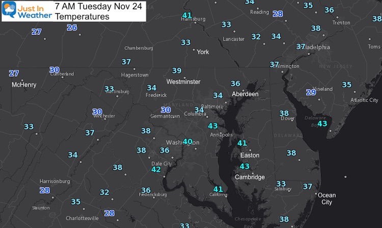 November 24 weather temperatures Tuesday morning
