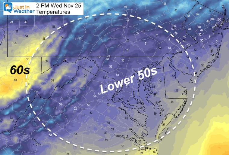 November 24 weather temperatures Wednesday afternoon