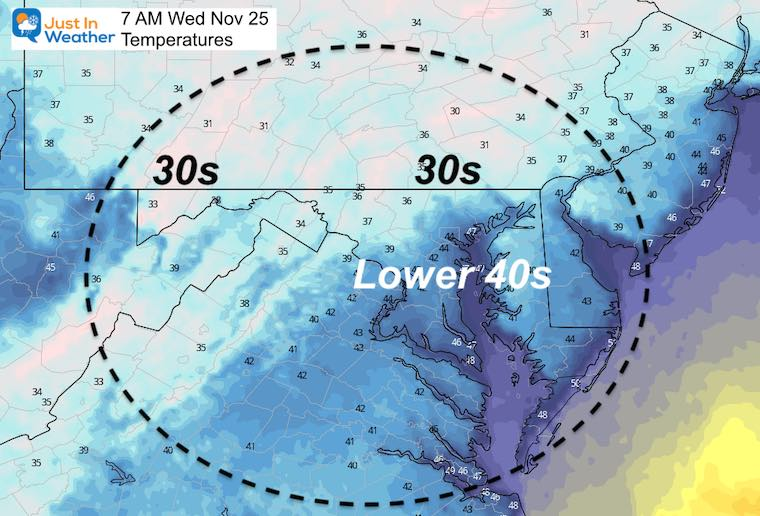 November 24 weather temperatures Wednesday morning