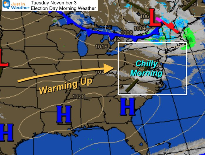 November 3 weather Election Day Tuesday morning