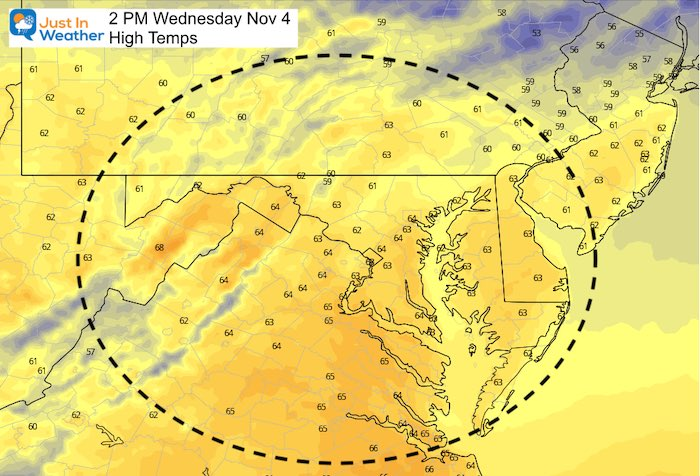 November 3 weather Wednesday afternoon temperatures