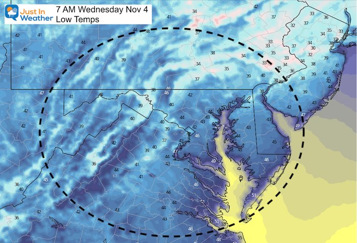 November 3 weather Wednesday morning temperatures