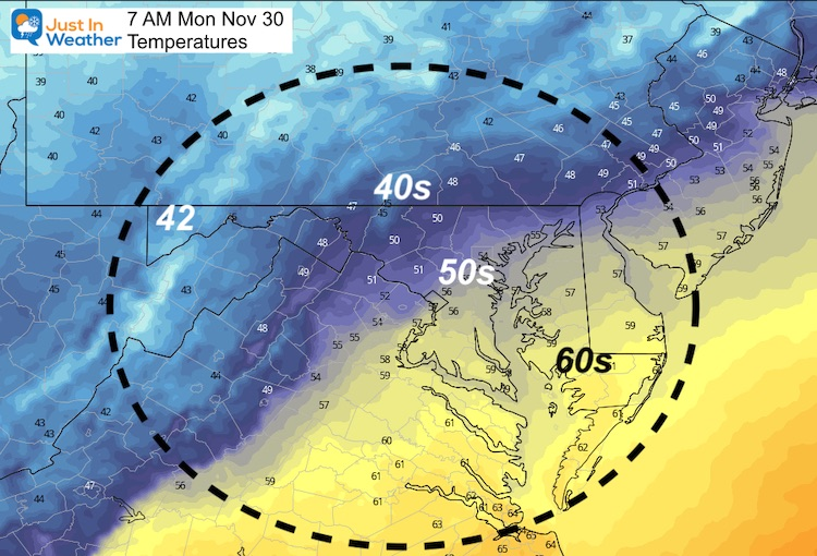 November 30 weather Temperatures Monday morning