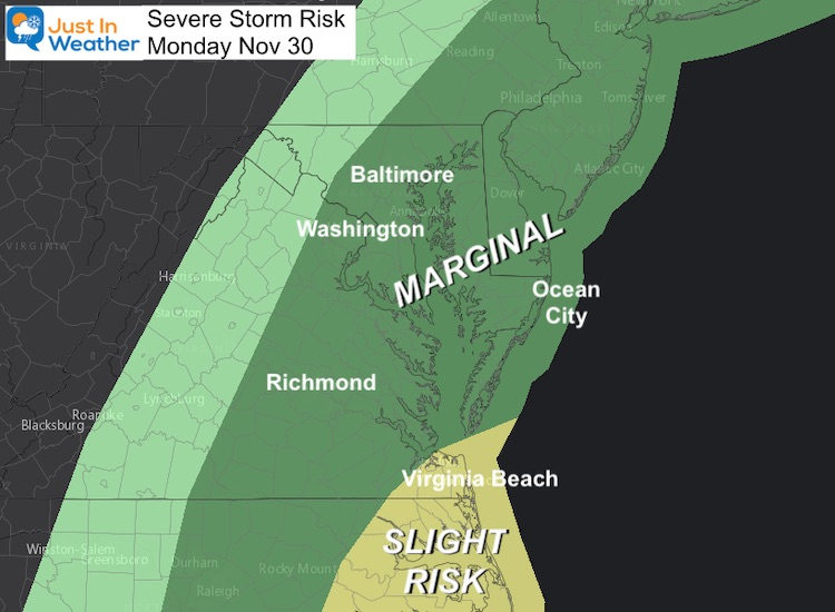 November 30 weather severe storm risk Monday