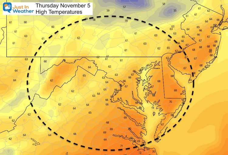 November 4 weather temperatures Thursday afternoon