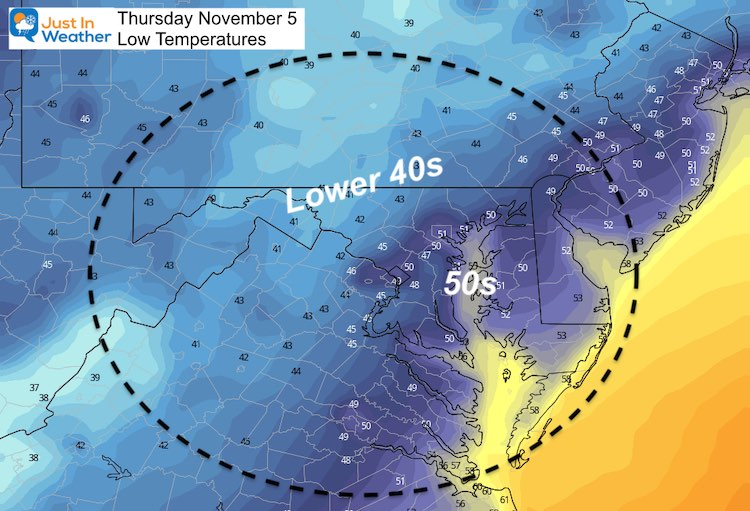 November 4 weather temperatures Thursday morning