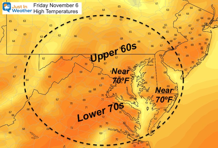 November 5 weather temperatures Friday afternoon