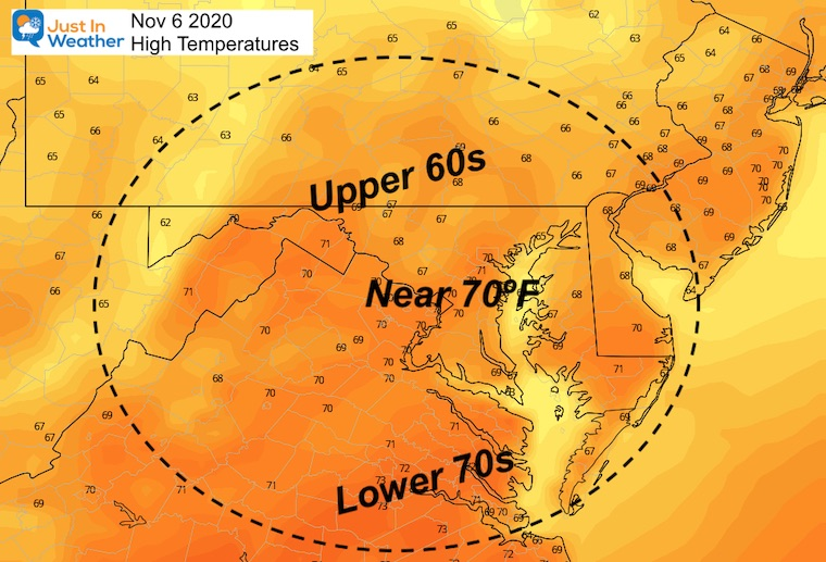 November 6 weather high temperatures Friday