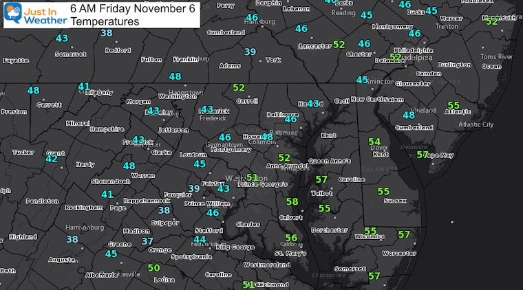November 6 weather morning temperatures