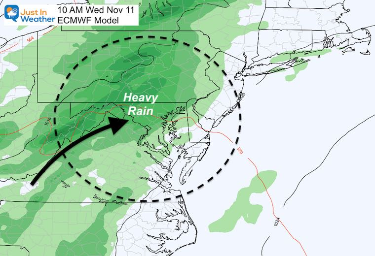 November 7 weather forecast rain ETA Wednesday ECMWF Model