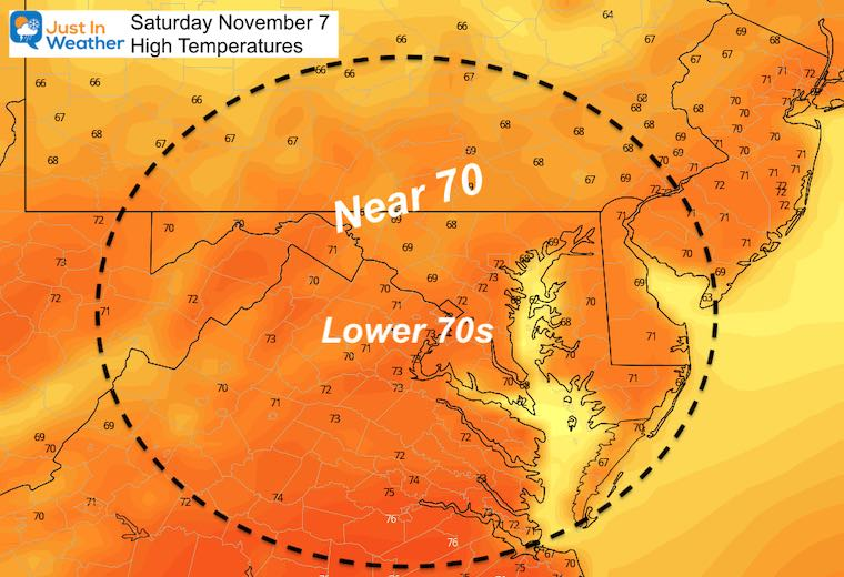 November 7 weather temperatures Saturday afternoon