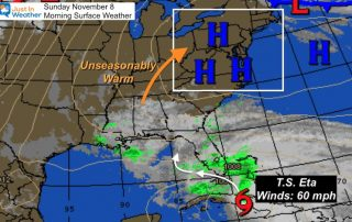 November 8 weather Tropical Storm Eta Sunday morning