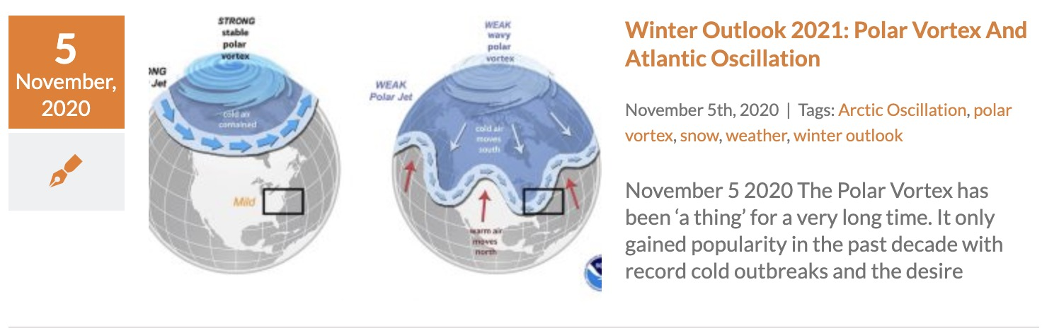 Winter Outlook Polar Vortex Arctic Oscillation