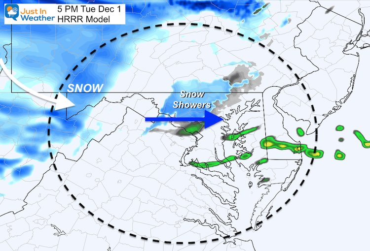 December 1 weather snow Tuesday 5 PM