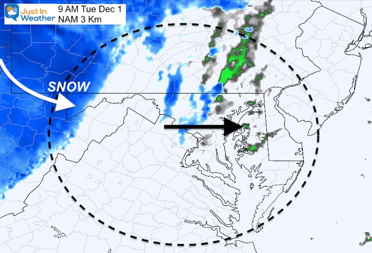 December 1 weather snow Tuesday 9 AM
