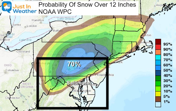 December 14 snow storm NWS probability 12 inches