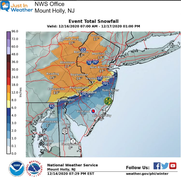 December 14 snow storm forecast National Weather Service Mt Holly