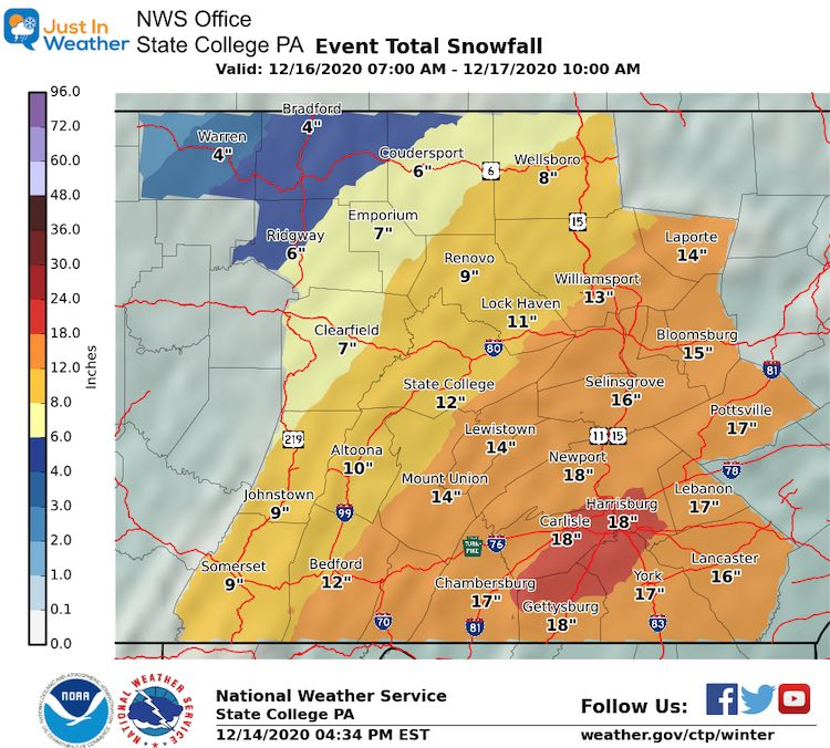 December 14 snow storm forecast National Weather Service State College